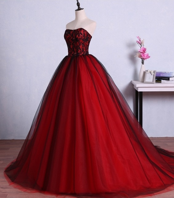 Red and Black Long Prom Dresses for Graduation Tulle Ball Gown Lace