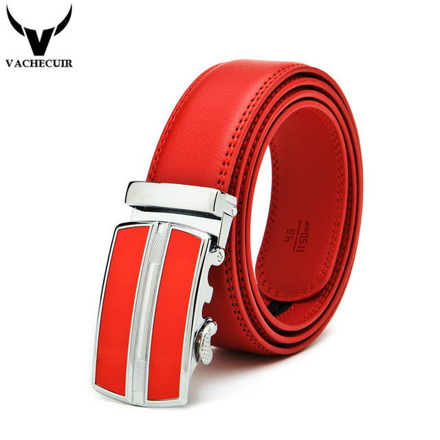 VACHECUIR New Fashion Automatic Buckle Red Belt Men's Belts For Men