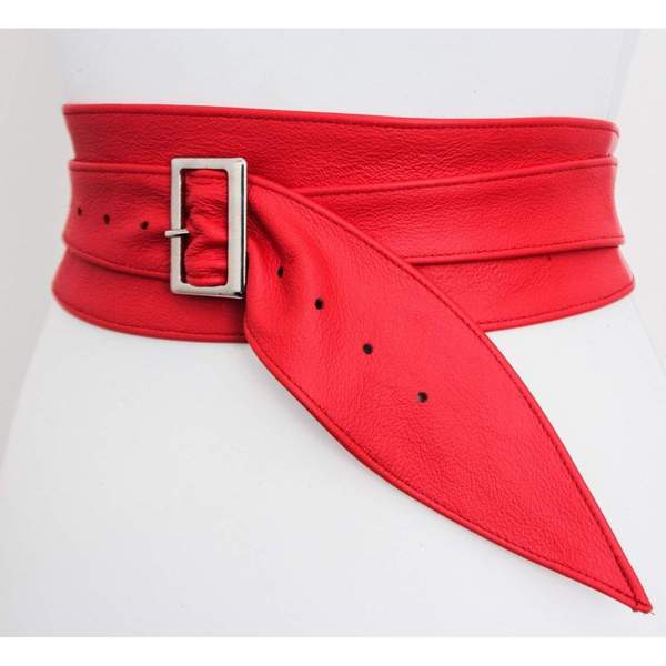 Red Leather Obi Silver Buckle Belt | ladies Red Belt | Corset Obi Belt