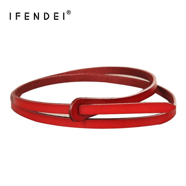IFENDEI Red Belt For Women's Dress Genuine Leather White Belt Waist