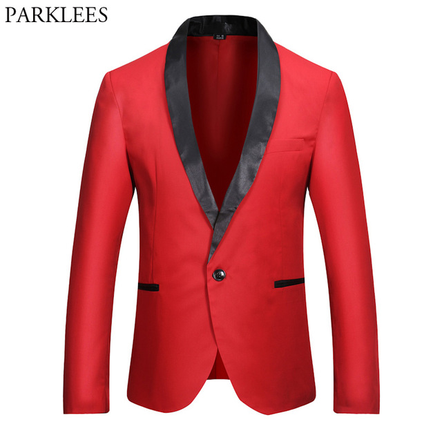 New Red Blazer Men 2017 Fashion Single Button Patchwork Collar