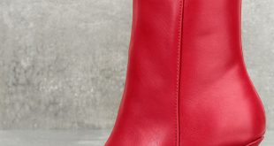 Sexy Red Boots - Mid-Calf Boots - Kitten Heel Boots