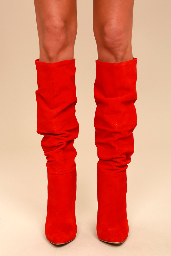 Steve Madden Carrie - Red Slouchy Boots - Knee High Boots