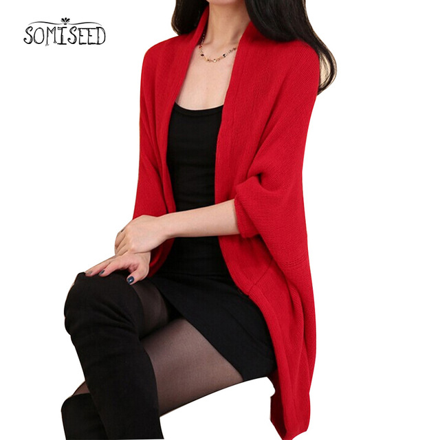 2018 Sweater Women Loose Shawl Batwing Sleeve Lady Knit Sweater Coat