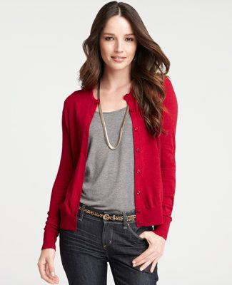 I do believe I would enjoy a red cardigan for fall | polka dots