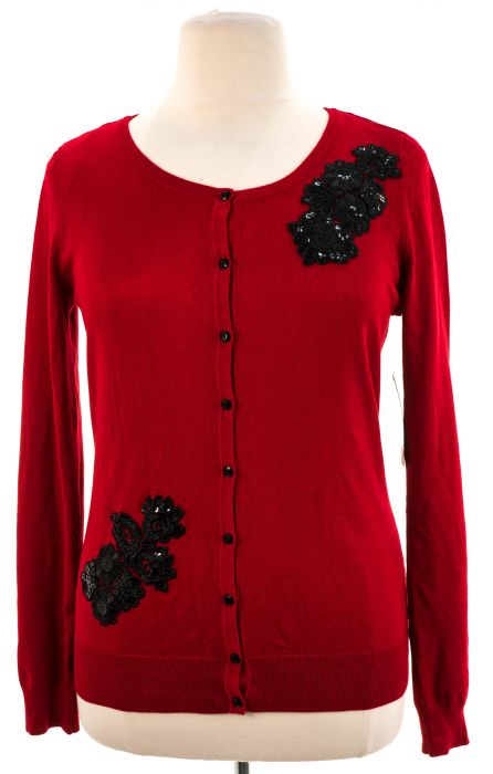 Debbie Morgan Large Red Womens Cardigans and Sweaters 10001-0049