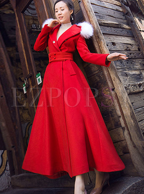 Outwear | Jackets/Coats | Fashion Red Hooded Cashmere Tie-waist Long