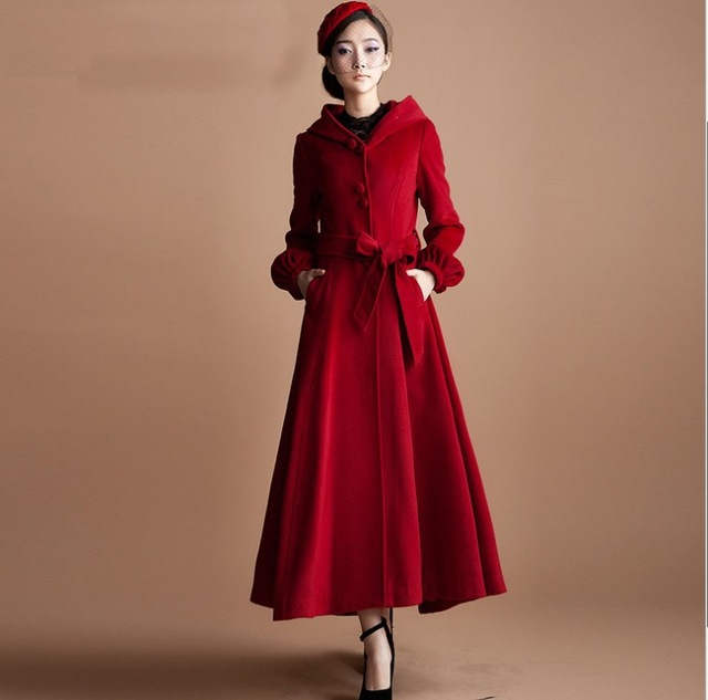 2018 New Fashion Woman'S Red Wool Coat Single Breasted Cashmere