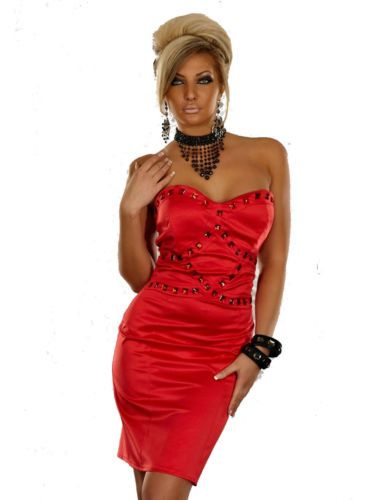 red bandeau party formal cocktail evening body con pencil dress
