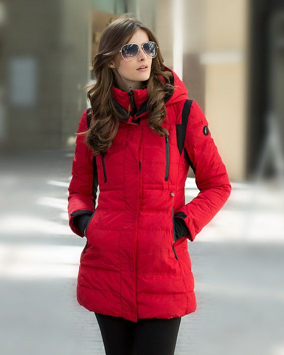 Womens Winter Hooded Red Quilted Duck Down Coat Puffer Jacket Warm