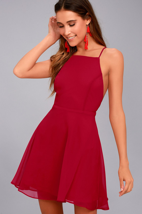 Lovely Red Dress - Skater Dress - Fit and Flare Dress