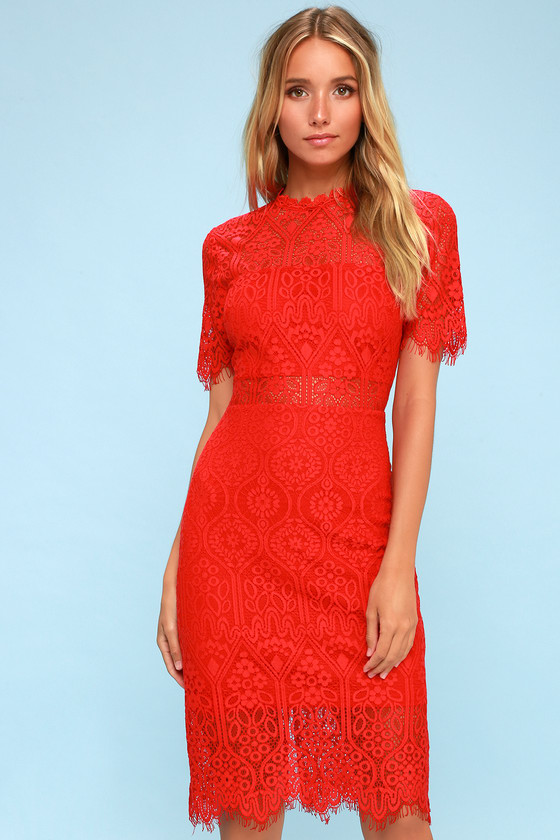 Chic Red Dress - Red Lace Dress - Red Sheath Dress