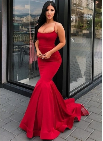 Elegant Spaghetti-Strap Mermaid Prom Dresses | 2019 Long Red Evening