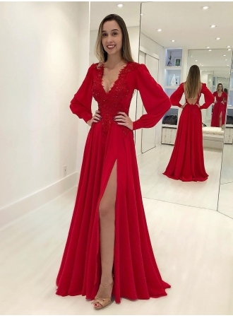 Sexy V-Neck Long Sleeves Red Evening Gown | Front Split Lace
