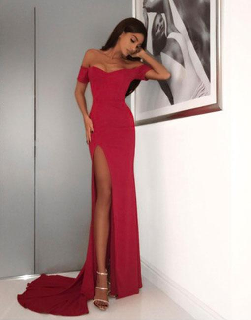 Red Off Shoulder Mermaid Prom Dress,Long Red Evening Dress on Luulla