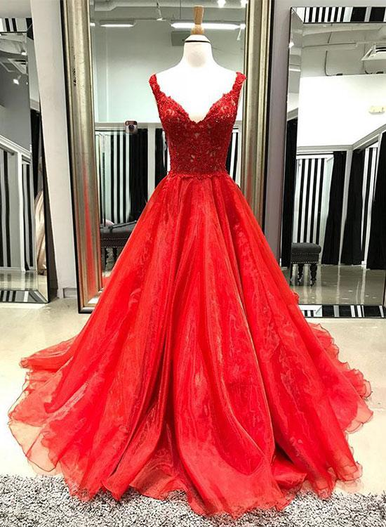 Stylish A-Line V-Neck Red Tulle Floor Length Prom/Evening Dress With