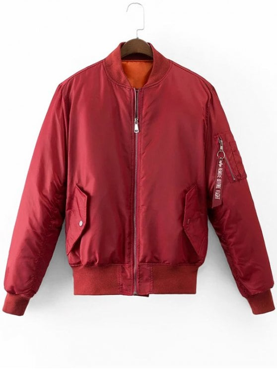 36% OFF] 2019 Graphic Back Zip Up Puffer Jacket In DEEP RED M | ZAFUL