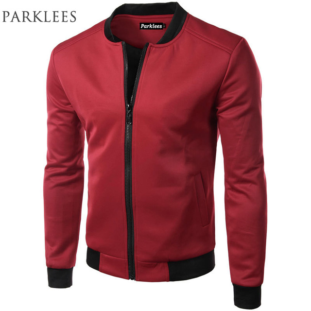 New Wine Red Jacket Men 2017 Spring Fashion Design Mens Slim Fit