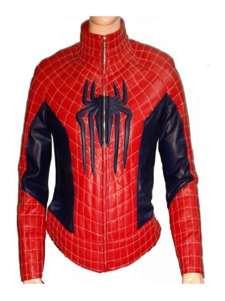 The Amazing Spider Man 2 Stylish Red leather Jacket