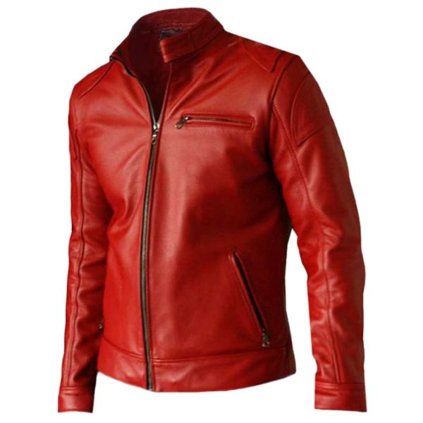 Men's Red Leather Biker Jacket - Dip Wear