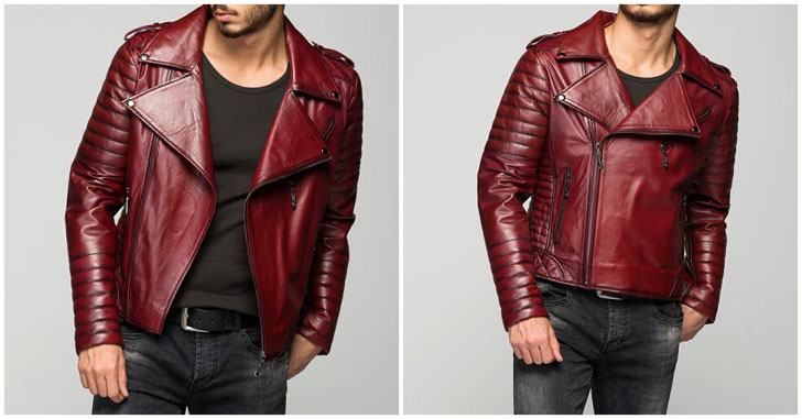 Stylish Men's Borvona Claret Red Leather Jacket - Awesome Stuff 365