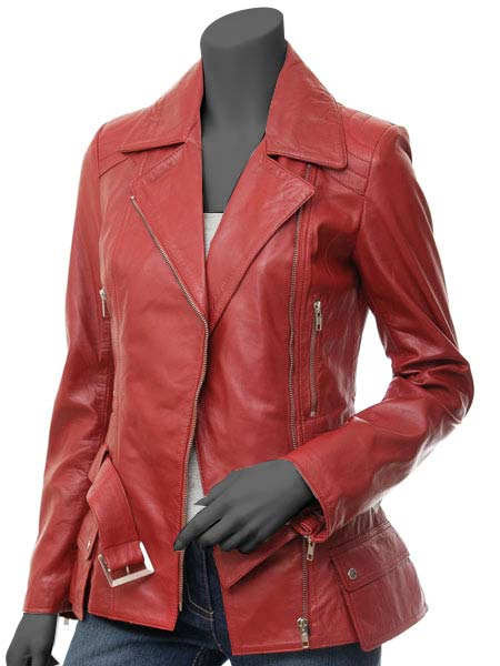 Long Red Leather Jacket - Womens Asymmetrical Jacket