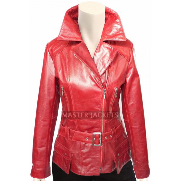 Women Long Fashion Leather Jacket Red
