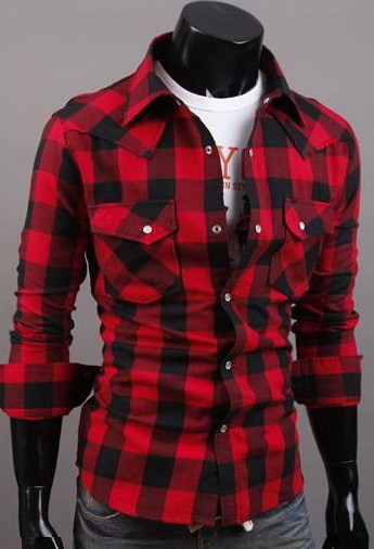 Men's Small/Big Red/Black Plaid Shirts Casual Slim Fit Long Sleeve