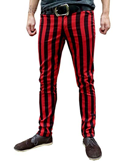 Fuzzdandy Mens Striped Drainpipe Thick Red Black Stripes Mod Indie