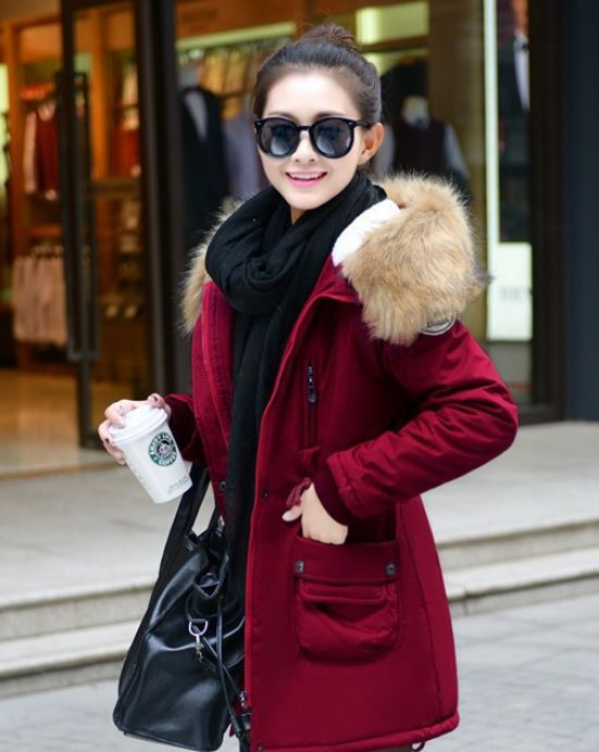 Red Down Parkas Winter Jackets Outwear For Women Winter Down Parkas