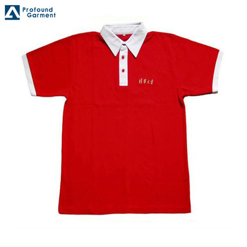 Hot Sale Men's White Polo Shirt With Red Collar Plain Polo Shirts