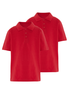 School 2 Pack Polo Shirts - Red | School | George at ASDA