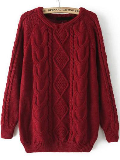 Fall Fashion Cable Knit Loose Burgundy Red Sweater u2013 Crystalline