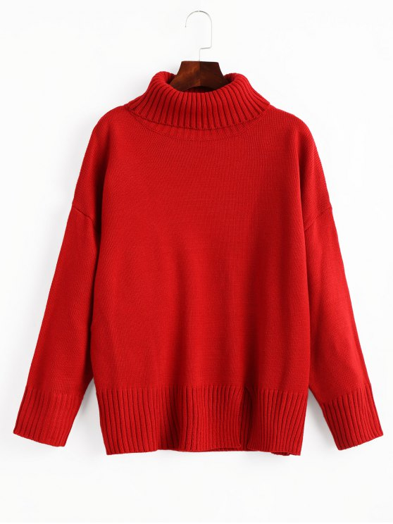 60% OFF] 2019 Slit Oversized Turtleneck Sweater In RED ONE SIZE | ZAFUL
