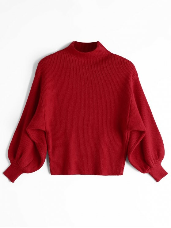49% OFF] 2019 Lantern Sleeve Mock Neck Sweater In RED ONE SIZE | ZAFUL