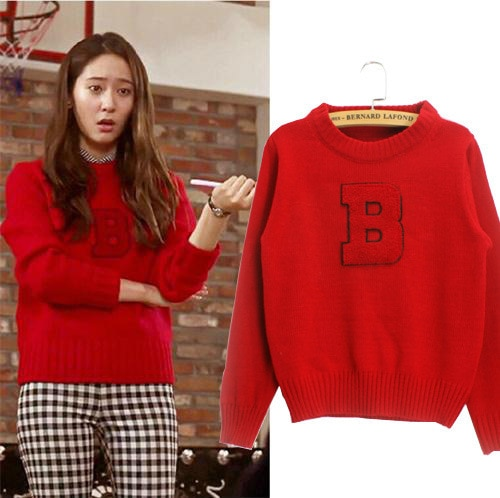 Celebrity Sweater Letter B Printed Hedging Slim Knit Red Pullover