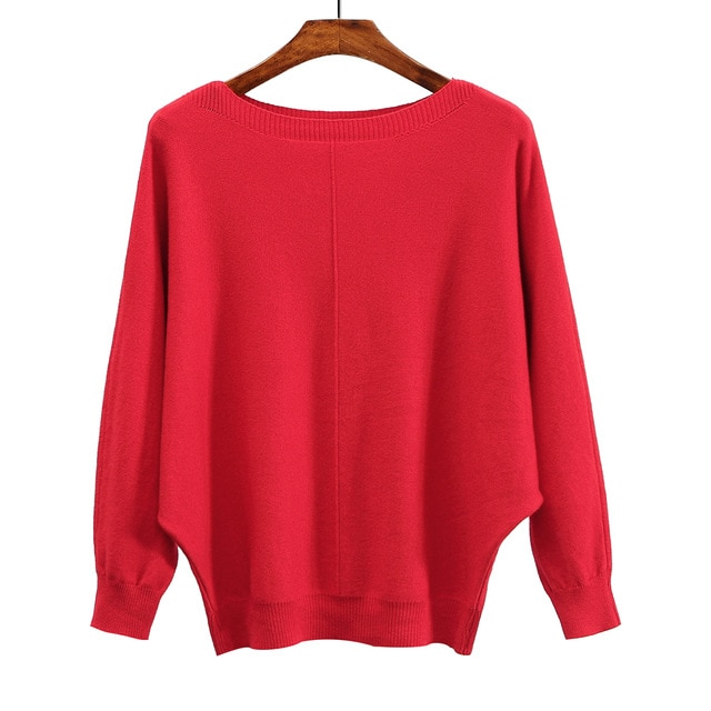 2018 Winter women red sweater Basic knitted tops Plus size slash