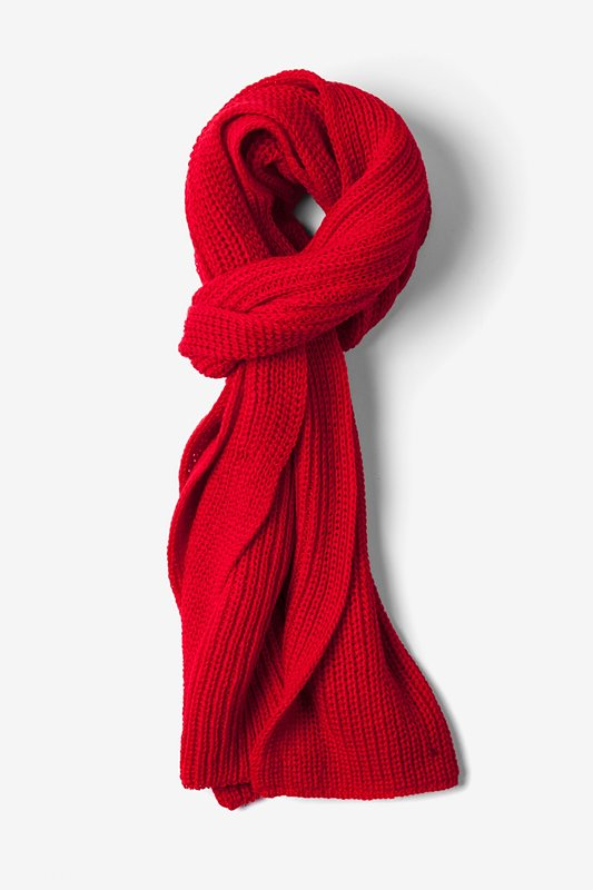 Red Acrylic Kingston Knit Scarf | Ties.com