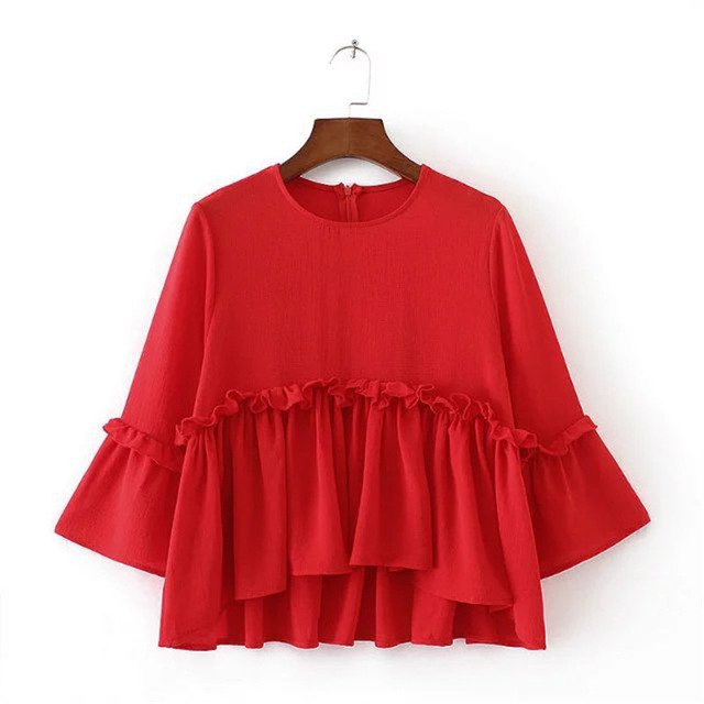 pleated cute ruffle blouse women tops o neck sweet girl black red
