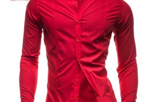 Men's Shirts Cotton Red Shirt Men Casual Camisas Hombre Clothing