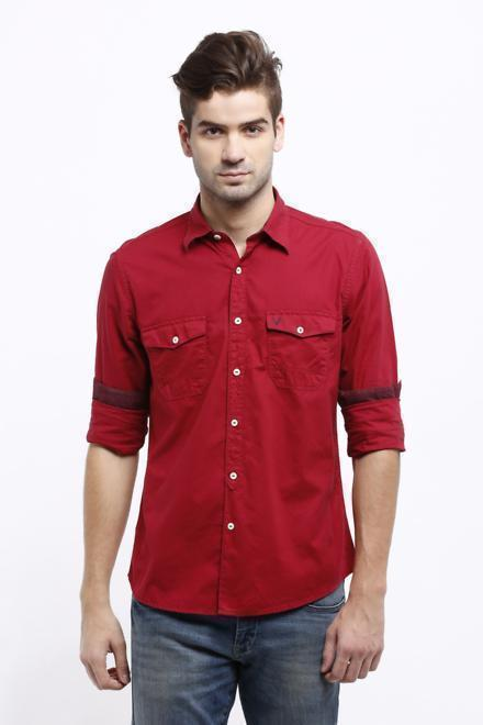 Solly Jeans Co Shirts, Allen Solly Red Shirt for Men at Planetfashion.in