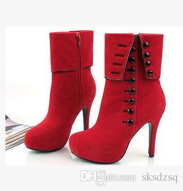 Women Ankle Boots High Heels Fashion Red Shoes Woman Platform Flock