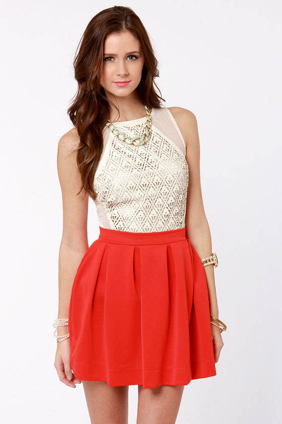 Cute Coral Red Skirt - Orange Skirt - Mini Skirt - Pleated Skirt