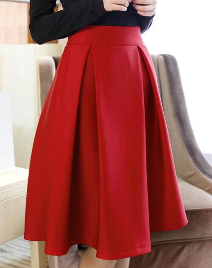 High Quality Cute Women Autumn/Winter Skirts, Burgundy Skirts, Red