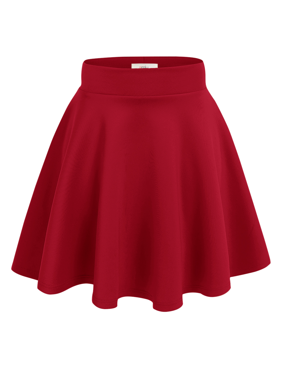 Simlu - Simlu Womens Red Skater Skirt, A Line Flared Skirt Reg