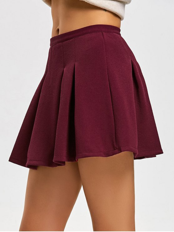 30% OFF] 2019 High Waist Pleated Mini Flare Skirt In DEEP RED S | ZAFUL