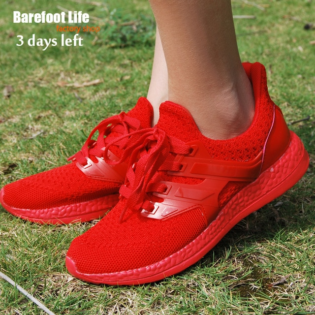 barefoot life red sneakers woman and man,sport running,athletic