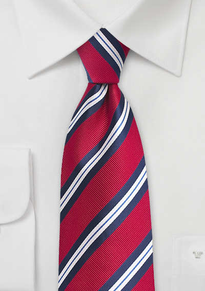 Preppy Repp Stripe Tie in Red and Blue | Bows-N-Ties.com
