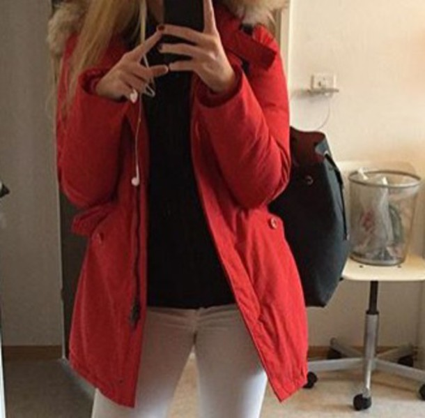 jacket, winter outfits, fall outfits, red, winter jacket, fur, fur