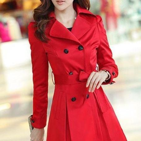 Red Coat Fashion Trench Winter Coat For Women-Women Red Coat Winter
